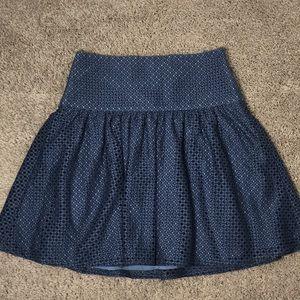Ann Taylor Blue Eyelet Drop Waist Skirt | Size 2